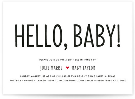 Mod Sip and See Baby Shower Invitations
