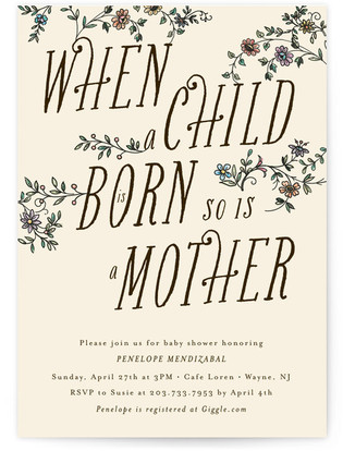 A Mother's Birth Baby Shower Invitations