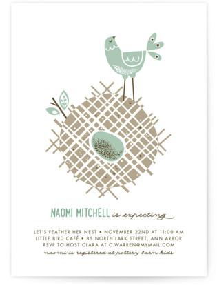 Mid Century Nest Baby Shower Invitations