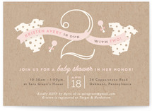 Due With Two Baby Shower Invitations