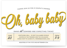 Oh Baby Baby Baby Shower Invitations