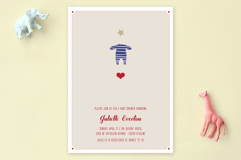Le Petit Pyjama Etoile Baby Shower Invitations