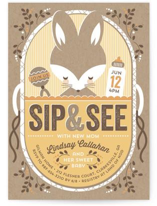 Bundled Bunny Baby Shower Invitations