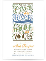 Over The River Baby Shower Invitations