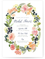 Watercolor Wreath Bridal Shower Invitations