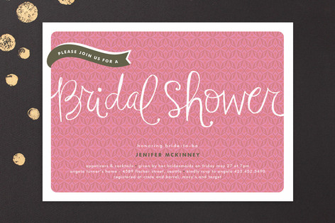 Pink Banner Bridal Shower Invitations