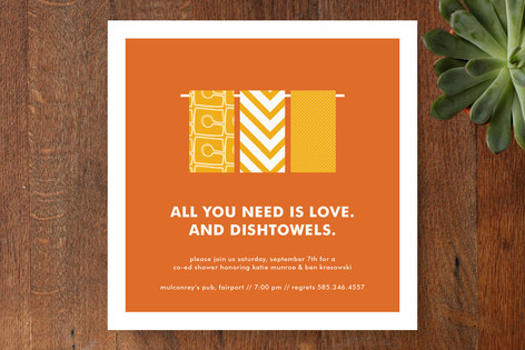 Love and Dishtowels Bridal Shower Invitations