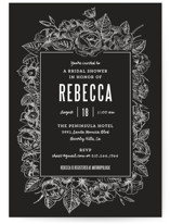 Sketched Foliage Bridal Shower Invitations