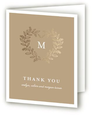 Monogram Heart Foil-Pressed Birth Announcement Thank You Cards