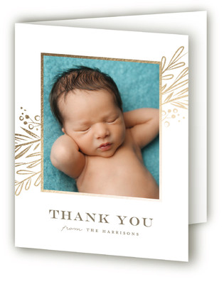 Floral Whimsy Foil-Pressed Birth Announcement Thank You Cards