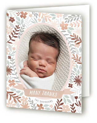 Botanical Garden Foil-Pressed Birth Announcement Thank You Cards