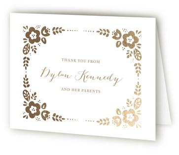 Morning Glory Foil-Pressed Birth Announcement Thank You Cards