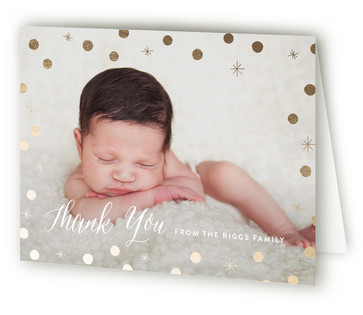 Heavenly Foil-Pressed Birth Announcement Thank You Cards
