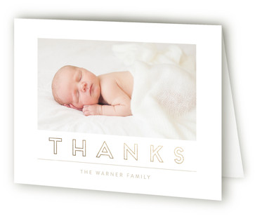 Hello Blocks Foil-Pressed Birth Announcement Thank You Cards