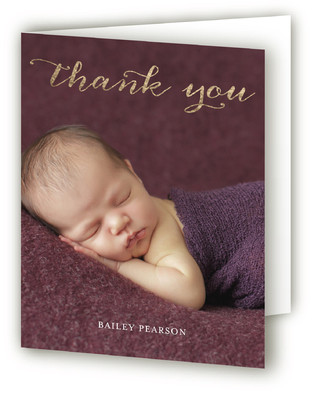 Metallic Hello Swirl Foil-Pressed Birth Announcement Thank You Cards