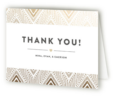 Framed Beauty Foil-Pressed Birth Announcement Thank You Cards
