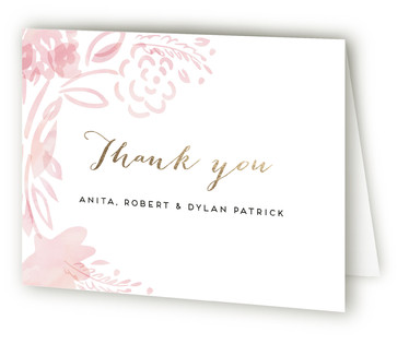 Baby Blossom Foil-Pressed Birth Announcement Thank You Cards