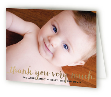 Numbers Game Foil-Pressed Birth Announcement Thank You Cards