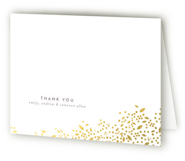 Golden Breath Foil-Pressed Birth Announcement Thank You Cards