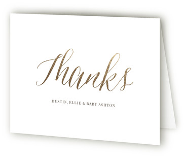 Angelic Welcome Foil-Pressed Birth Announcement Thank You Cards