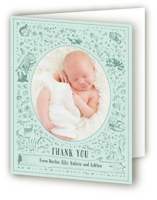 Woodland Animals Birth Announcements Thank You Cards