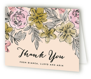 Floral Snapshot Birth Announcements Thank You Cards