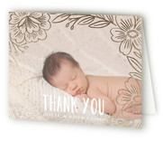 Penciled Flowers Birth Announcements Thank You Cards