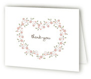 Heart Floral Frame Birth Announcements Thank You Cards