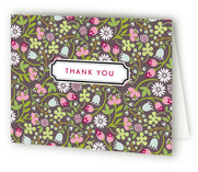 Patterned Label Birth Announcements Thank You Cards