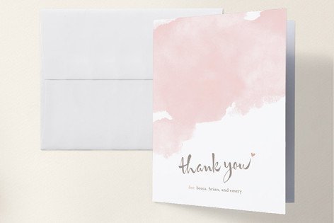 Soft Watercolor Birth Announcements Thank You Cards