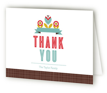 Mod Floral Birth Announcements Thank You Cards