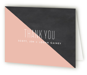 Half Chalkboard Birth Announcements Thank You Cards