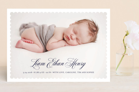 Scalloped Border Birth Announcements