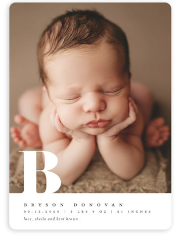 Knockout monogram Birth Announcements