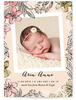Floral Snapshot Birth Announcements