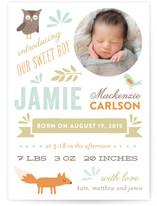 Woodland Friends Birth Announcements