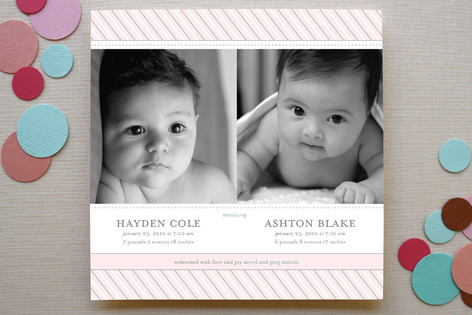 Preppy Stripe Twins Birth Announcements