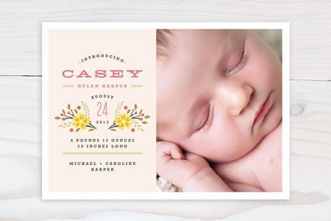 Simple Bouquet Birth Announcements