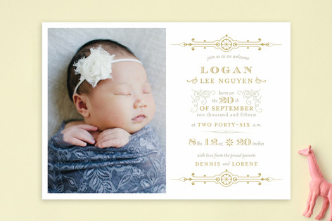 Gilded Birth Announcements