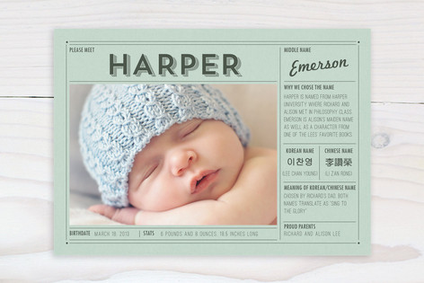 Vintage Name Grid Birth Announcements