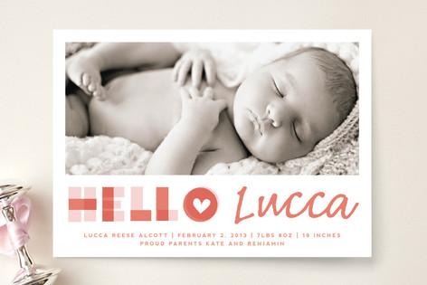 A Heartfelt Hello Birth Announcements