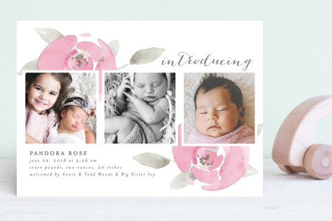 Sweet As A Rose Birth Announcements