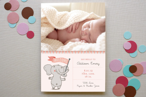 Welcome Elephant Birth Announcements