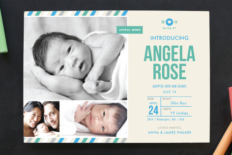 Khaki Baby Birth Announcements