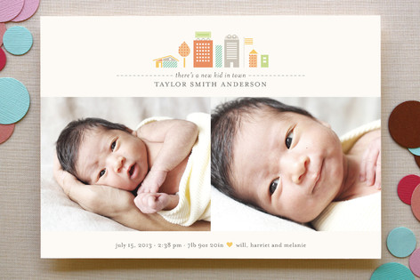 New Kid in Town Birth Announcements