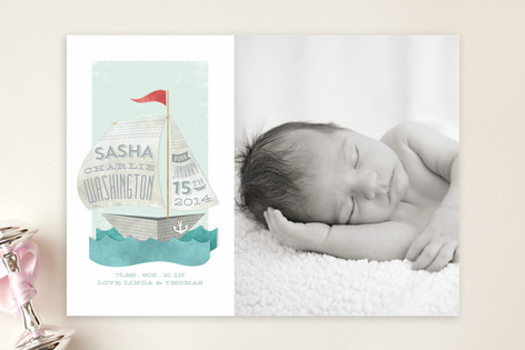 Newspaper Sailboat Birth Announcements