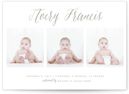 Elegant Trio Birth Announcements