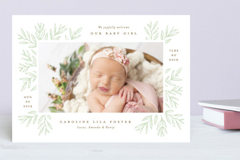Natural Sketch Birth Announcements