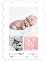 Watercolor Initial Birth Announcements