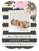 Cascading Floral Stripe Birth Announcements